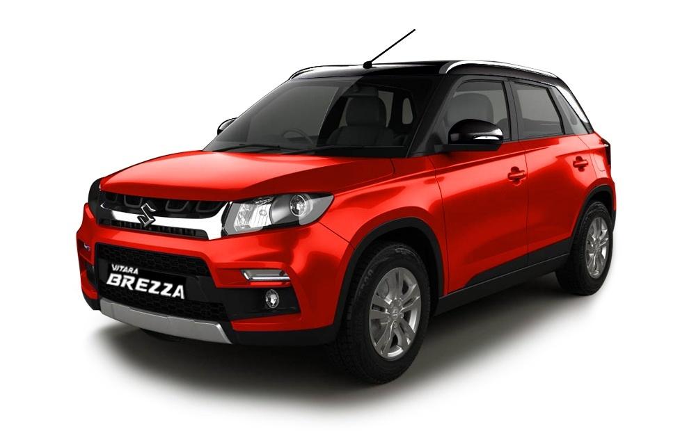 1488533864 maruti suzuki vitara brezza blazing red with midnight black - Рестайлинговый кроссовер Maruti-Suzuki Vitara Brezza готовится к дебюту и продажам