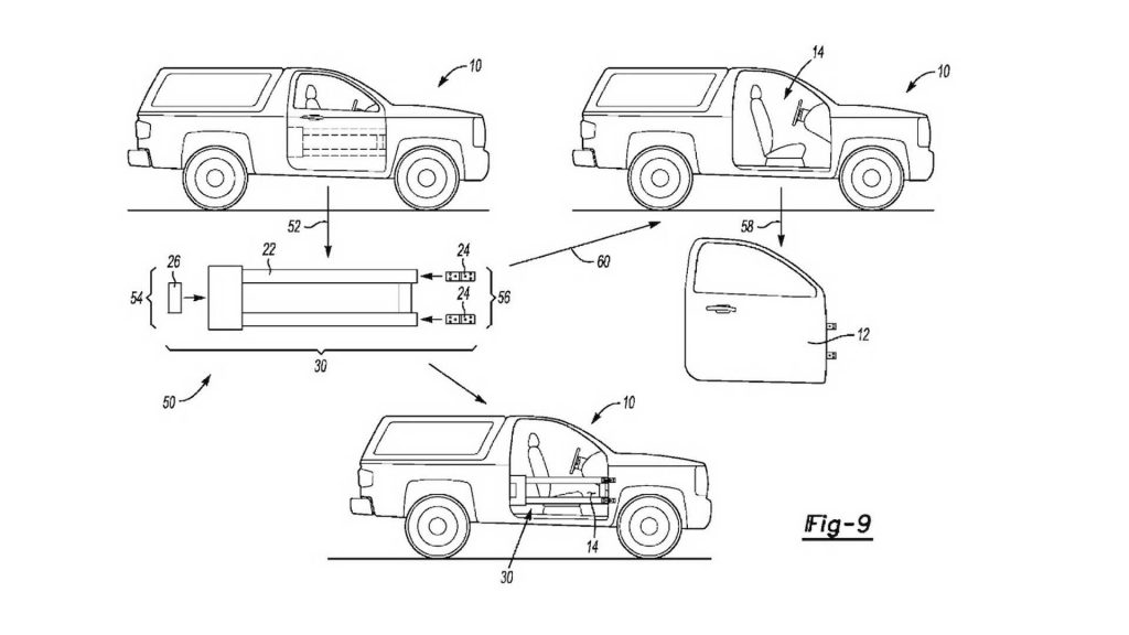 ford removable doors patent drawing 1024x576 - Ford запатентовал технологию съёмных дверей для своего нового кросса