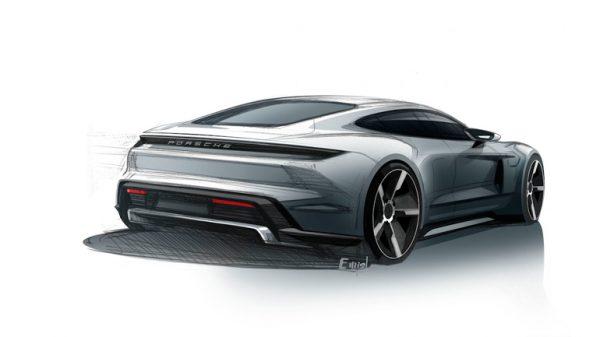 Porsche Taycan teaser sketch rear three quarters 01 600x337 - Porsche опубликовала изображение нового спортивного электрокара
